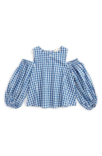 Girl's Soprano Gingham Cold Shoulder Top, Size S (8-10) - Blue