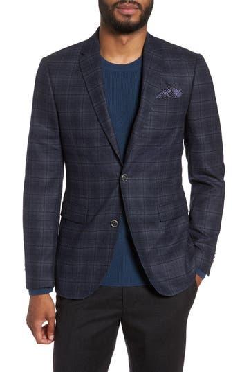 Sand Trim Fit Plaid Wool Sport Coat, Blue