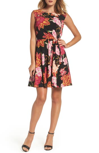 Women's Tahari Faux Wrap Dress, Size 2 - Black
