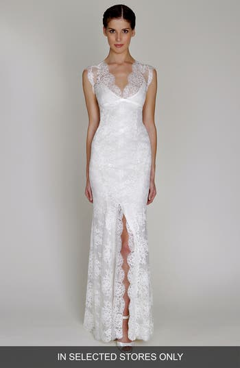 Bliss Monique Lhuillier Chantilly Lace Open Back Wedding Dress