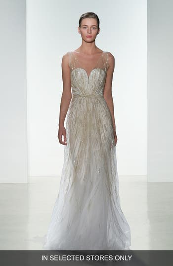 Amsale Talia Hand Beaded Low V-Neck Gown