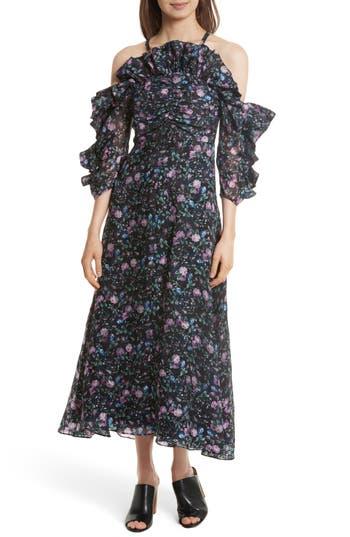 Rebecca Taylor Ruby Organza Midi Dress, Blue