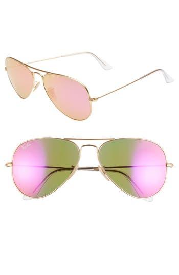 Ray-Ban Standard Original 5m Aviator Sunglasses - Fuchsia/ Mirror