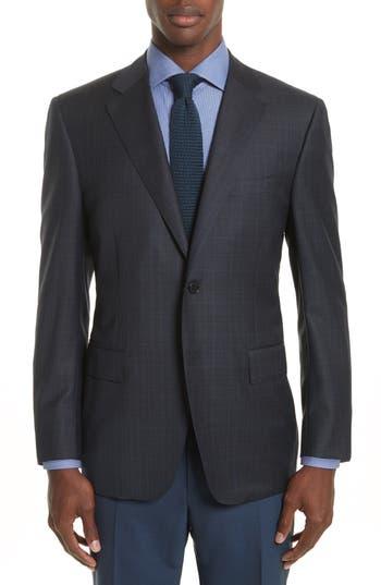 Canali Classic Fit Plaid Wool Sport Coat, 0 R EU - Blue