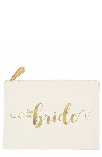 Cathy'S Concepts Team Bride Canvas Pouch - White