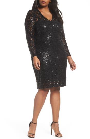Plus Size Marina Sequin Lace Stretch Sheath Dress, Black