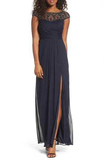 Xscape Beaded Mesh Gown, Blue