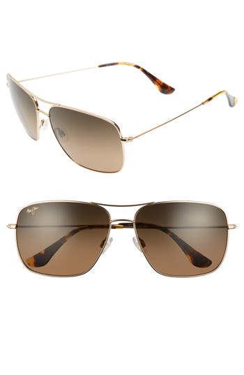 Maui Jim Cook Pines 6m Polarized Titanium Aviator Sunglasses - Gold/ Bronze