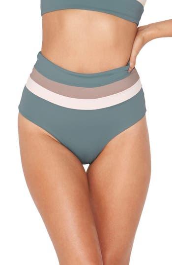 L Space Portia Reversible Colorblock Bikini Bottoms, Green