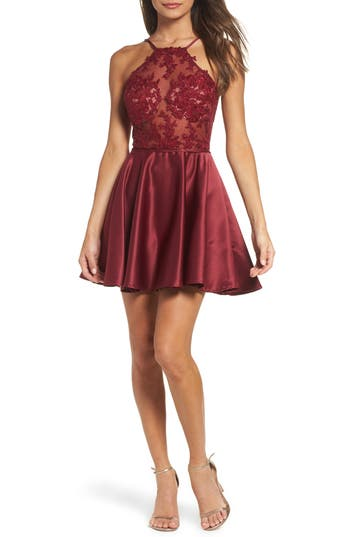 La Femme Embellished Illusion Bodice Skater Dress, Burgundy
