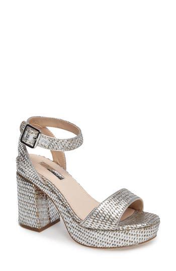 Women's Topshop Love Woven Platform Sandal, Size 5.5US / 36EU - Metallic