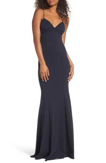 Katie May Stretch Crepe Gown, Blue