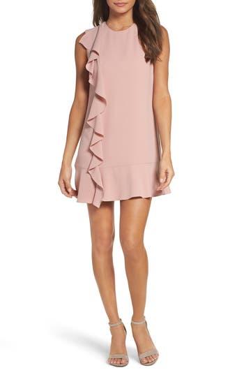 Women's Charles Henry Ruffle Shift Dress, Size X-Small - Pink