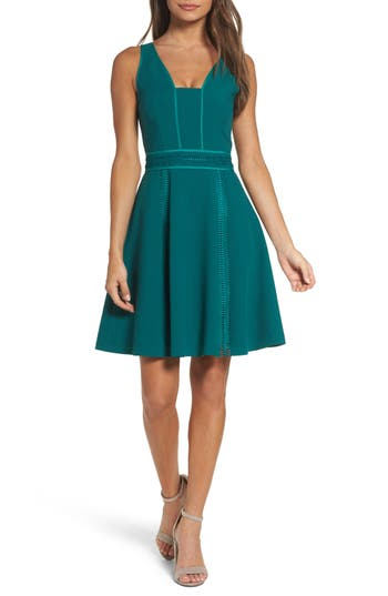 Adelyn Rae Gayle Fit & Flare Dress, Blue/green
