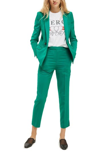Women's Topshop Tailored Cigarette Trousers, Size 2 US (fits like 0) - Green