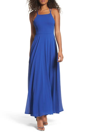 Lulus Strappy To Be Here Lace-Up Back Gown, Blue