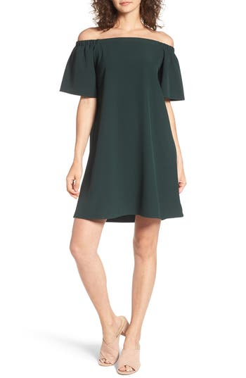 Bp. Off The Shoulder Shift Dress, Green