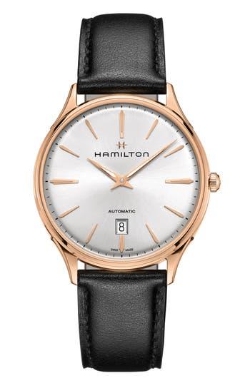 Hamilton Jazzmaster Thinline 18K Gold Automatic Leather Strap Watch, 40mm