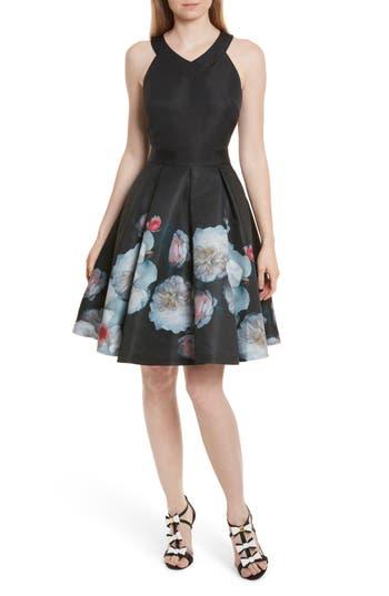 Ted Baker London Jelina Chelsea Floral Fit & Flare Dress, Black
