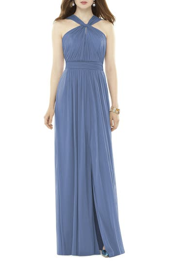 Alfred Sung Twist Neck Chiffon Knit Gown, Blue