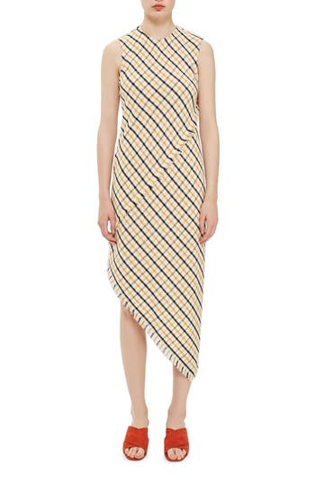 Topshop Boutique Gingham Slash Back Asymmetrical Midi Dress, US (fits like 0) - Ivory