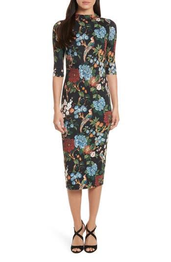 Alice + Olivia Delora Print Fitted Midi Dress, Black