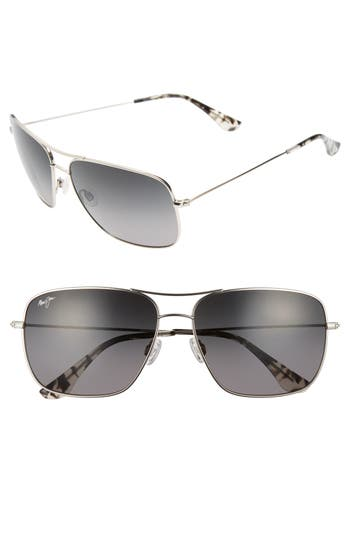 Maui Jim Cook Pines 6m Polarized Titanium Aviator Sunglasses - Silver/ Neutral Grey