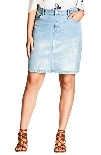 Plus Size City Chic Mirror Denim Skirt, Blue