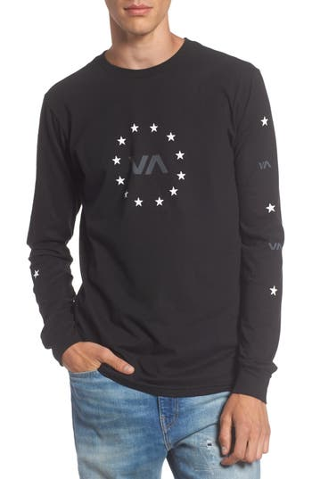 Rvca Star Circle Graphic T-Shirt, Black