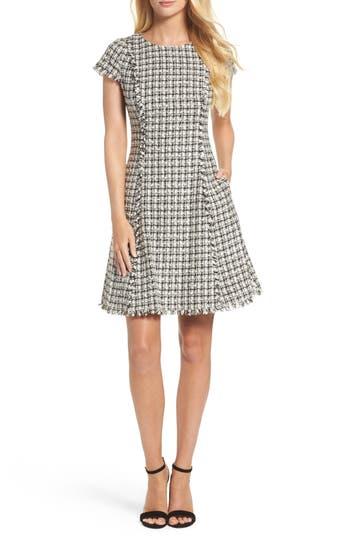 Eliza J Houndstooth Fit & Flare Dress, Ivory