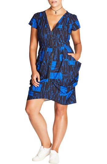 Plus Size City Chic Zip Front Print Tunic Dress, Blue