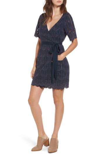 Women's Tularosa Rocky Cutwork Embroidery Wrap Dress, Size X-Small - Blue