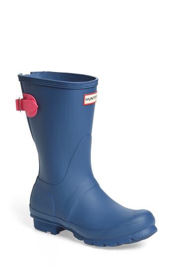 Hunter Original Short Back Adjustable Rain Boot, Blue