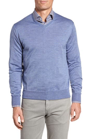 Peter Millar Merino Wool & Silk V-Neck Sweater, Blue