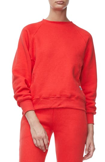 Good American Good Sweats The Not-So-Basic Crew Sweatshirt, Red