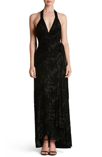 Dress The Population Erica Floral Velvet Wrap Gown