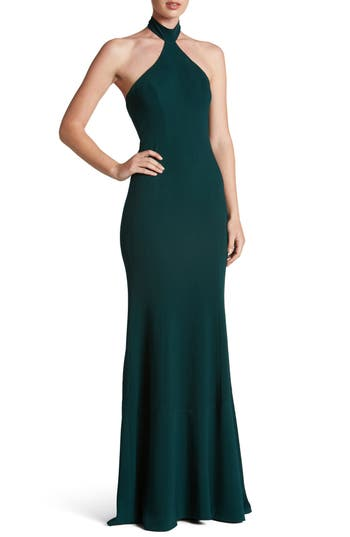 Dress The Population Taylor Crepe Halter Gown, Green