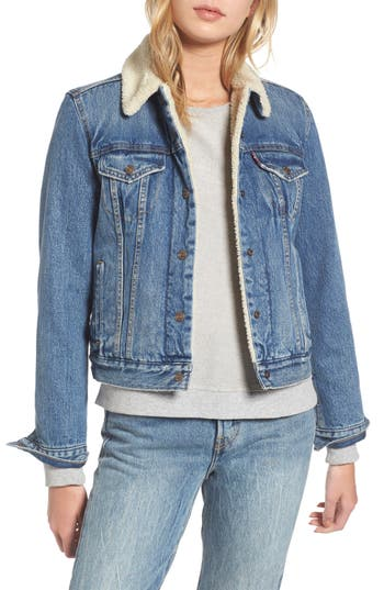 Women's Levi's Faux Shearling Lined Denim Trucker Jacket, Size X-Small - Blue