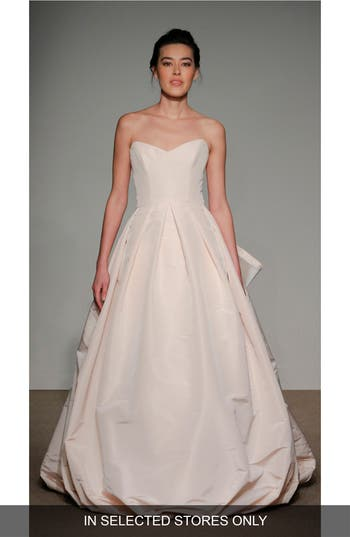 Anna Maier Couture Cheri Bow Detail Strapless Faille Ballgown, Size IN STORE ONLY - White