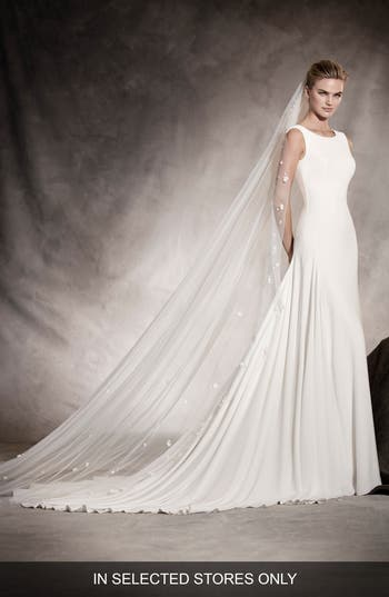 Pronovias Amaya Crepe A-Line Gown, Size IN STORE ONLY - Ivory