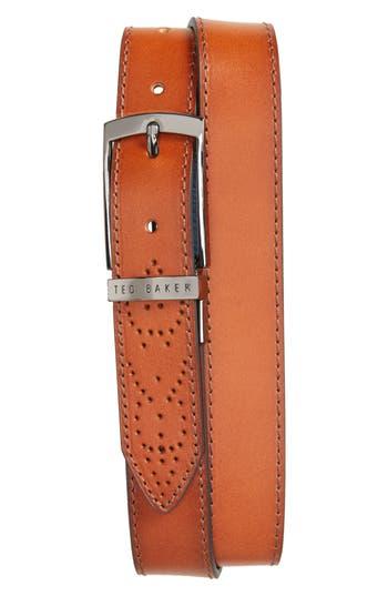 Men's Ted Baker London Boxwood Leather Belt, Size 40 - Tan/blue
