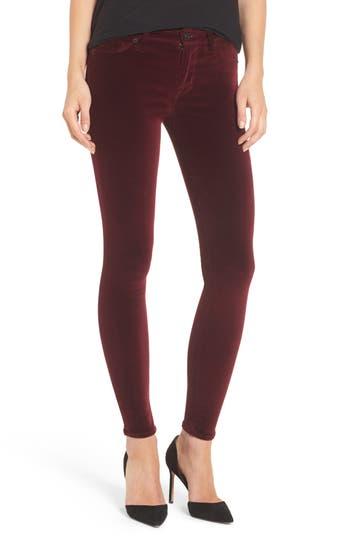 Hudson Jeans Nico Ankle Skinny Velvet Pants, 3 - Red