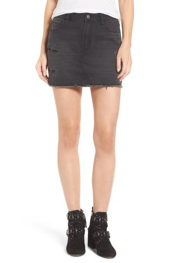 Evidnt Destroyed Denim Miniskirt, Black