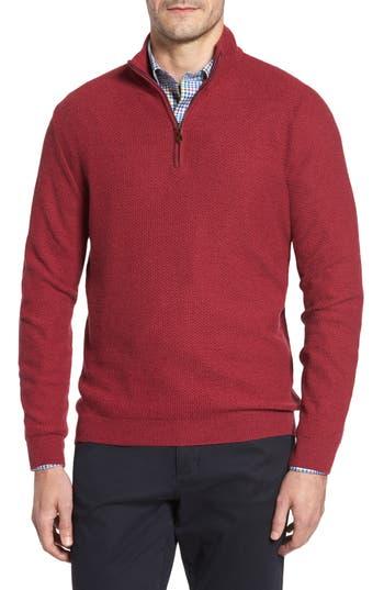 David Donahue Honeycomb Merino Wool Quarter Zip Pullover, Burgundy