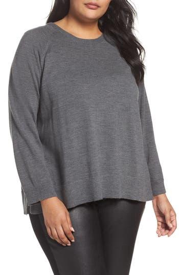 Plus Size Eileen Fisher Round Neck Merino Sweater, Grey