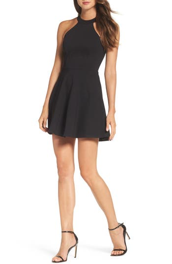 Women's Lulus Endlessly Alluring Lace Trim Fit & Flare Dress, Size X-Small - Black