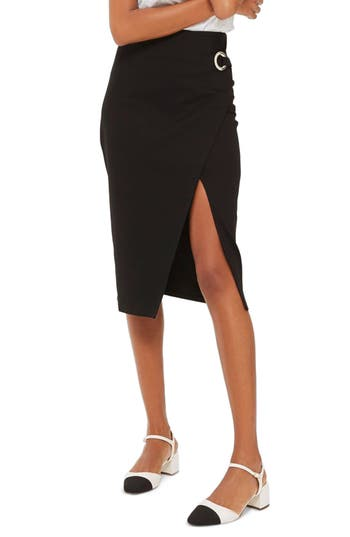 Topshop Eyelet Detail Wrap Jersey Skirt, US (fits like 14) - Black