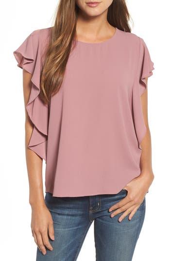 Women's Bobeau Flutter Sleeve Top, Size X-Small - Purple
