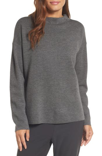 Eileen Fisher Mock Neck Box Wool Sweater, Grey