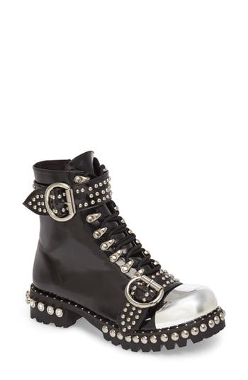 Women's Jeffrey Campbell Gustine Studded Boot, Size 5 M - Black